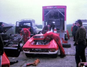 Lotus 47 John Miles car in paddock 27 04 1968 (a)